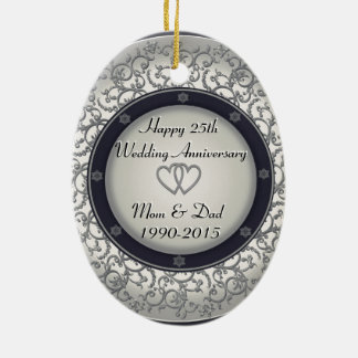 25to Aniversario de bodas de plata Ornamento De Navidad