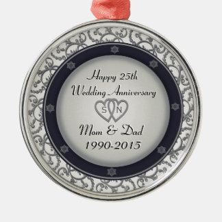25to Aniversario de bodas de plata Adorno Redondo Plateado