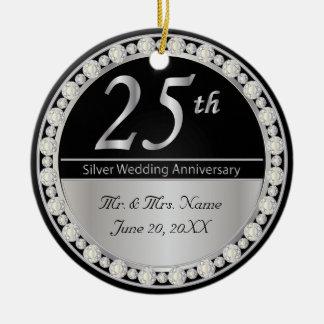 25to Aniversario de bodas de plata Adorno Redondo De Cerámica