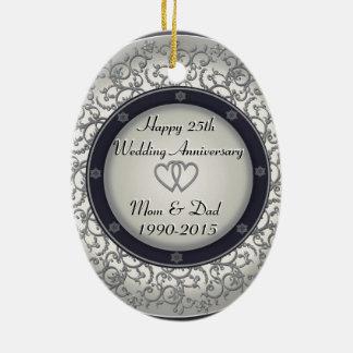 25to Aniversario de bodas de plata Adorno Navideño Ovalado De Cerámica