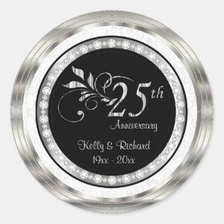 25to Aniversario de bodas de plata - damasco Pegatina Redonda