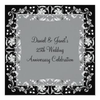 25to aniversario de bodas de plata de la flor de invitación 13,3 cm x 13,3cm