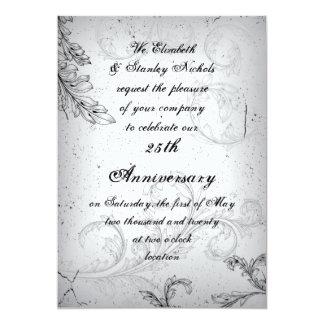 25to aniversario de bodas de plata de la voluta invitación 12,7 x 17,8 cm