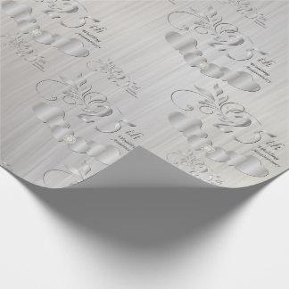 25to aniversario de bodas de plata elegante papel de regalo