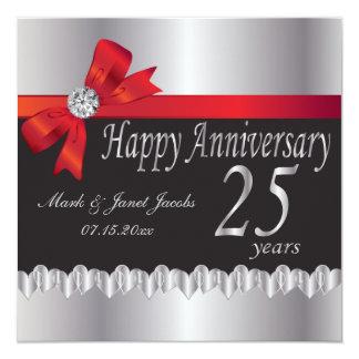 25to aniversario de bodas de plata feliz invitación 13,3 cm x 13,3cm