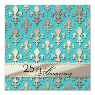 25to, aniversario de bodas de plata, flor de lis invitación 13,3 cm x 13,3cm
