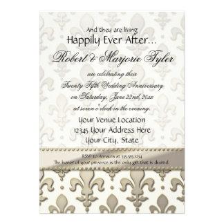 25to aniversario de bodas de plata flor de lis invitacion personal