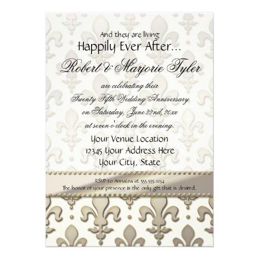 25to, aniversario de bodas de plata, flor de lis invitacion personal