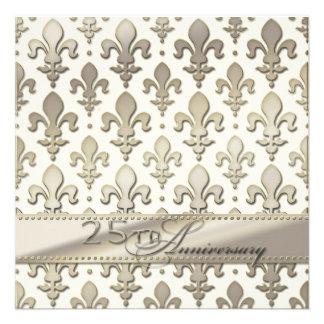 25to, aniversario de bodas de plata, flor de lis invitaciones personales