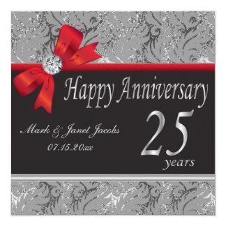 25to Aniversario de bodas de plata Invitación 13,3 Cm X 13,3cm