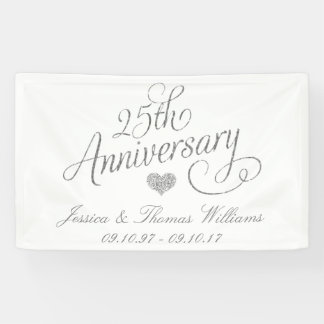 25to Aniversario de bodas de plata Lona