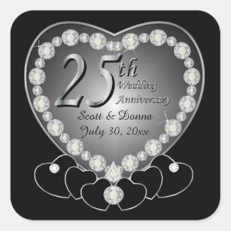 25to Aniversario de bodas de plata Pegatina Cuadrada