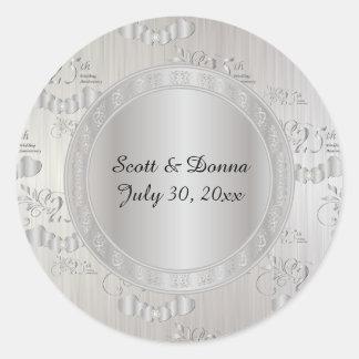 25to Aniversario de bodas de plata Pegatina Redonda