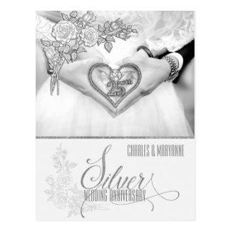 25to Aniversario de bodas de plata personalizado Postal