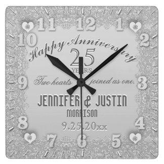 25to Aniversario de bodas de plata Reloj Cuadrado