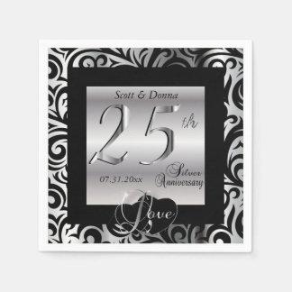 25to Aniversario de bodas de plata Servilleta Desechable