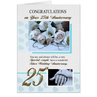 25to Aniversario de bodas de plata Tarjetón