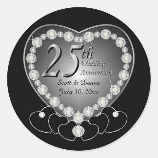 25to Aniversario de plata Pegatina Redonda