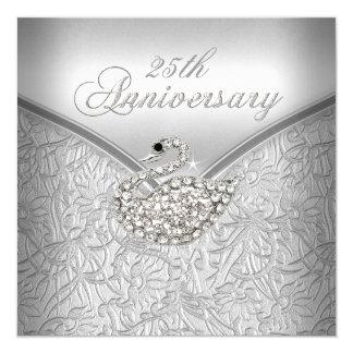 25to aniversario del cisne blanco de plata invitación 13,3 cm x 13,3cm