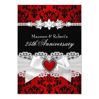 25to aniversario del damasco del arco negro rojo invitación 12,7 x 17,8 cm