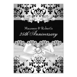 25to aniversario del damasco del arco negro y de invitación 12,7 x 17,8 cm