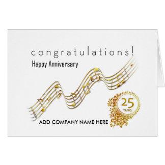 25to Aniversario del negocio - notas de la música Tarjeta De Felicitación