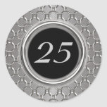 25to aniversario elegante de la plata y de boda de etiqueta redonda
