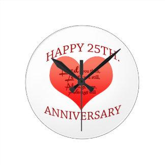 25to aniversario feliz reloj redondo mediano