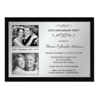 25to Aniversario último y actuales invitaciones de Invitación 11,4 X 15,8 Cm