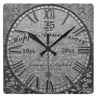 25to Antigüedad del vintage del aniversario de Reloj Cuadrado