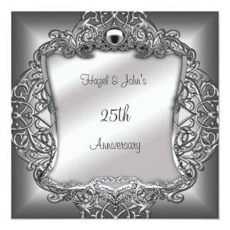 25to Blanco antiguo adornado de plata del Invitación 13,3 Cm X 13,3cm