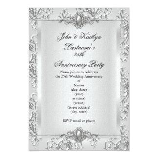 25to Blanco de la plata del damasco de la fiesta Invitación 8,9 X 12,7 Cm