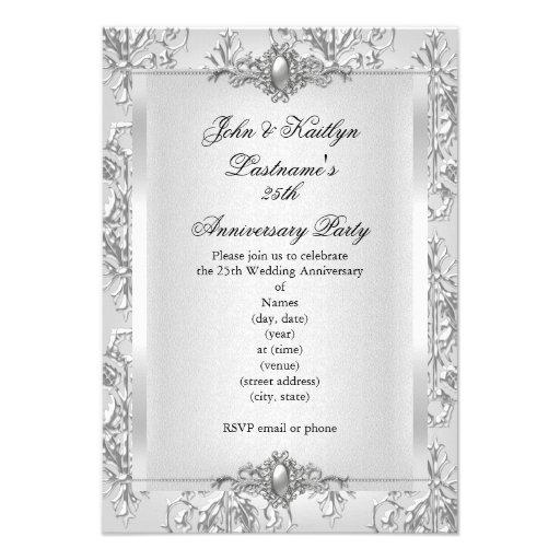 25to Blanco de la plata del damasco de la fiesta Invitacion Personalizada
