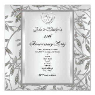 25to Blanco de la plata del damasco de la fiesta Invitación 13,3 Cm X 13,3cm