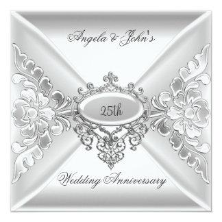 25to Blanco de plata elegante del aniversario de Invitación