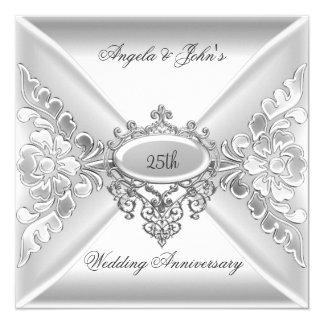 25to Blanco de plata elegante del aniversario de Invitación 13,3 Cm X 13,3cm