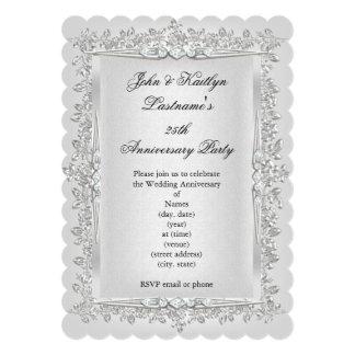 25to Blanco subió fiesta de aniversario 2 de la Invitación 12,7 X 17,8 Cm