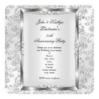 25to Blanco subió fiesta de aniversario 3 de la Invitación 13,3 Cm X 13,3cm