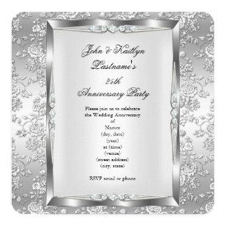 25to Blanco subió fiesta de aniversario 4 de la Invitación 13,3 Cm X 13,3cm