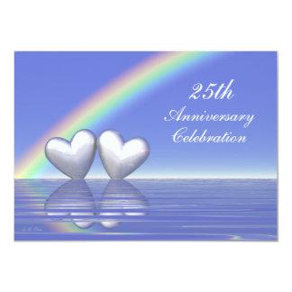 25to Corazones de plata del aniversario Invitación 11,4 X 15,8 Cm