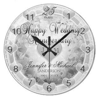 25to Corazones del aniversario de bodas de plata Reloj Redondo Grande