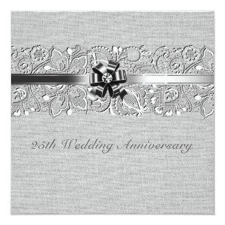 25to Cordón blanco de lino gris del aniversario de Invitación 13,3 Cm X 13,3cm