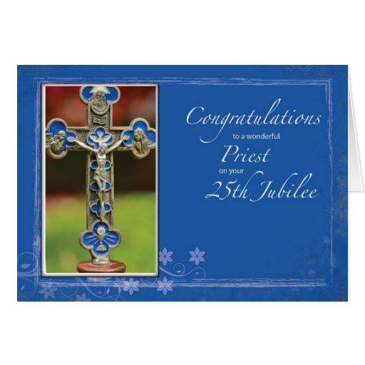 25to Cruz del sacerdote del jubileo Tarjeton