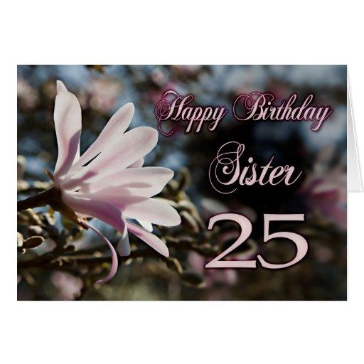 25to cumpleaños de la hermana con la magnolia tarjetas