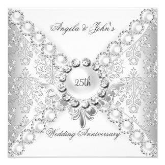 25to damasco 2 del aniversario de boda de la plata invitación