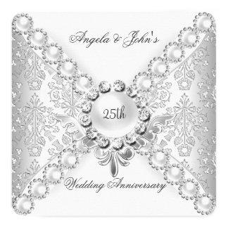 25to damasco 2 del aniversario de boda de la plata invitación 13,3 cm x 13,3cm