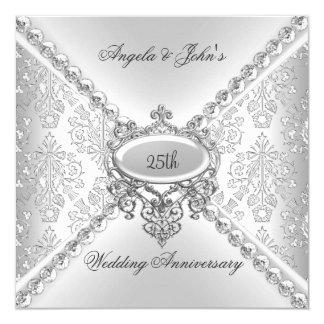 25to damasco del aniversario de boda de la plata invitación 13,3 cm x 13,3cm