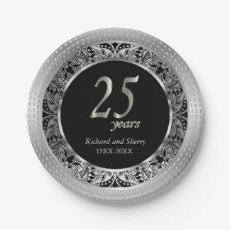 25to Diseño del aniversario el   Paisley Plato De Papel