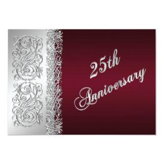 25to El aniversario Borgoña, las volutas de plata Invitación 12,7 X 17,8 Cm