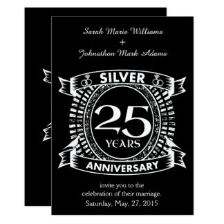 25to escudo de la plata del aniversario de boda invitación 12,7 x 17,8 cm